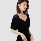 Women Dress Dresses Women Casual Naivee New Retro Puff Sleeve Waist Women Sexy Off Shoulder Velvet Black Dress Women Dress Casual