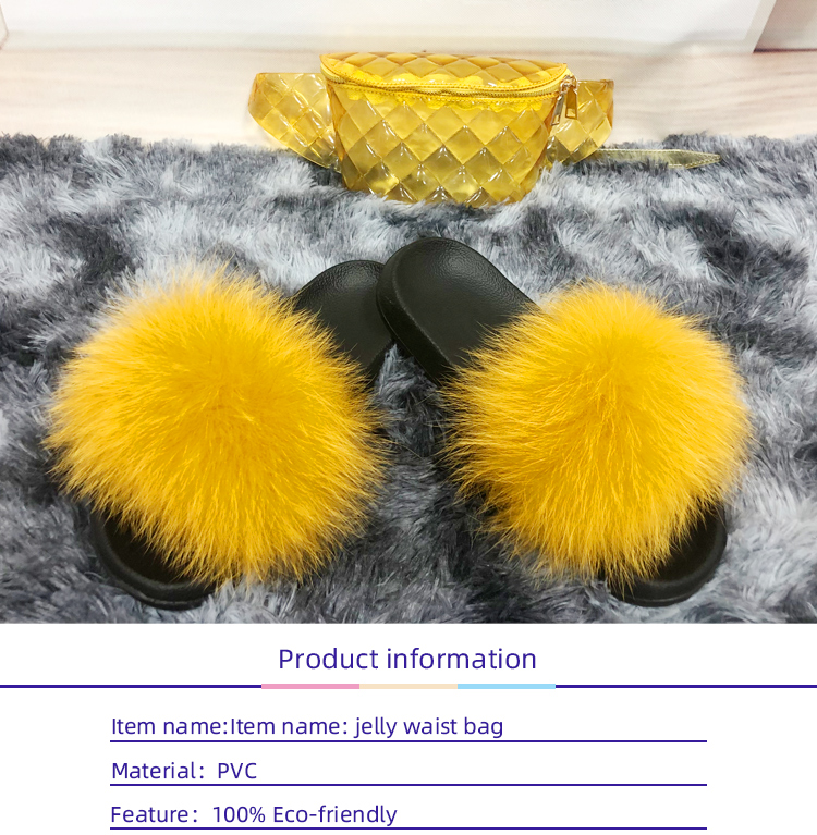 FB 2020 Women Furry Real Fox Slippers Rainbow Jelly waist Purse Bags Travel Fluffy Plush Ladies Cute Flip Flops