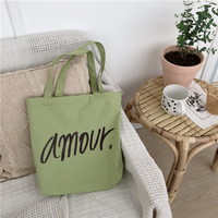 2019 Korean Stylish Green Color Plain Canvas Tote Bag/Eco-Friendly Durable Canvas