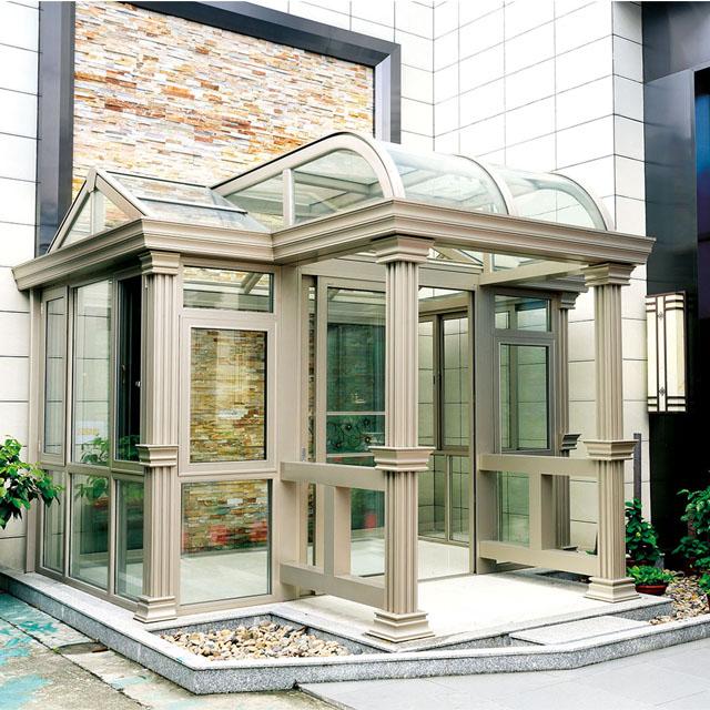 आउटडोर सर्दियों उद्यान एल्यूमीनियम बाड़ों sunroom पूर्वनिर्मित एल्यूमीनियम prefab घरों ग्लास sunroom