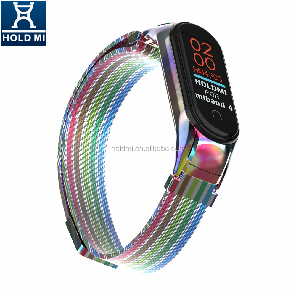 ODM holdmi 43036 series stylish colorful milanese smart watch belt compatible for mi band 4 and 3