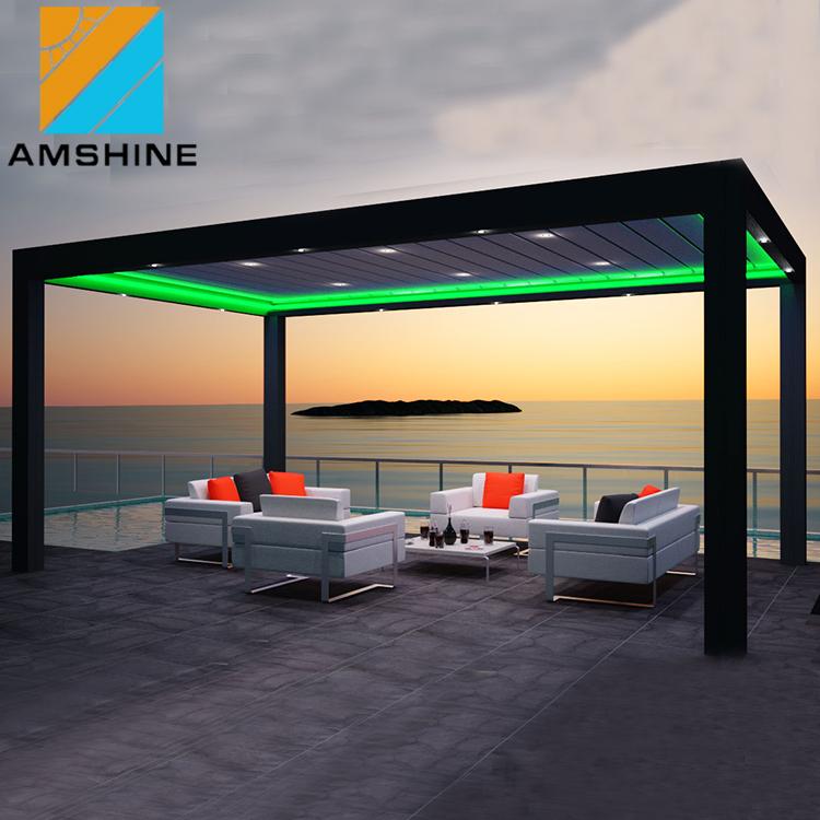 גן מרפסת גג חיצוני סלון עמיד למים חשמלי מתכת אלומיניום תריסים פרגולה גג