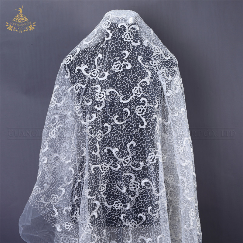 FL-58 supoo african white 3d flower lace fabrics for bridal dress 2019 style