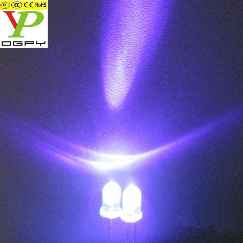China Factory Good Price 5mm <strong>diode</strong> led purple <strong>UV</strong> with water clear lens and with long pins