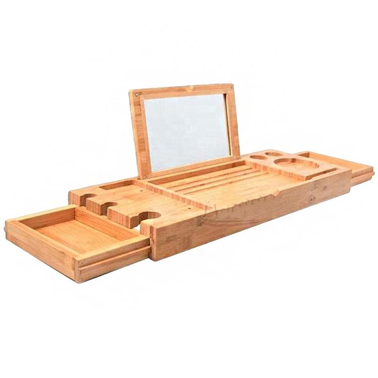 Wholesale Extendable Bathtub Caddy Natural Bamboo Bathtub Tray