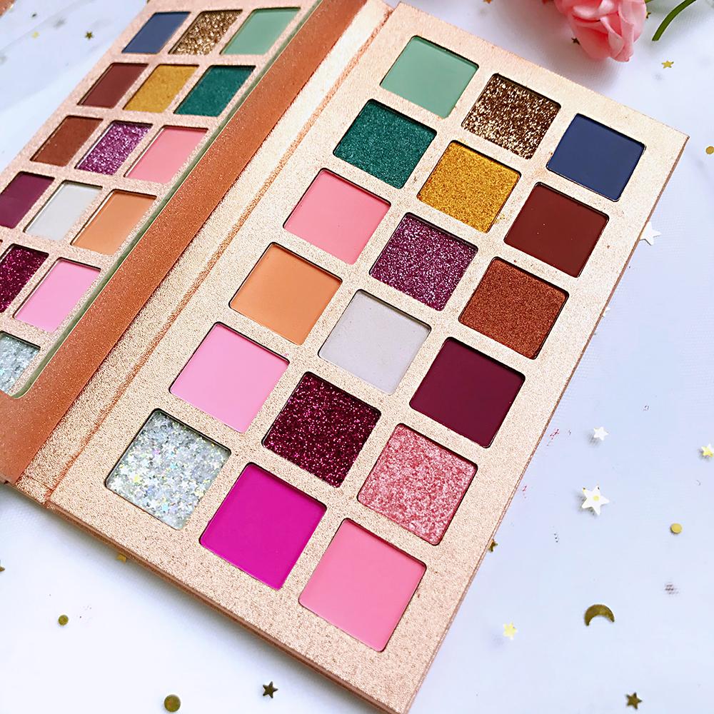 Personalizado a sua própria marca de maquiagem 18 pigmento de cor sombra palete