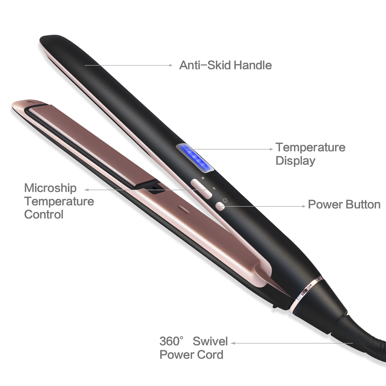 2019 New Design Professional Hair Straightener 2 In1 Titanium 1 Inch Plate Hair Flat Iron Private Label Flat Iron