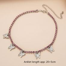 Модный милый Регулируемый простой женский очаровательный пляжный браслет с бабочками на щиколотке, колье, ожерелье, ювелирное изделие, под...(Китай)