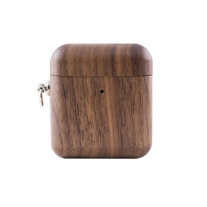 New 2019 Retro Wooden Metal Case for Airpods Cover Wireless Charging Anti-lost Full Protective Earphone Bag Box