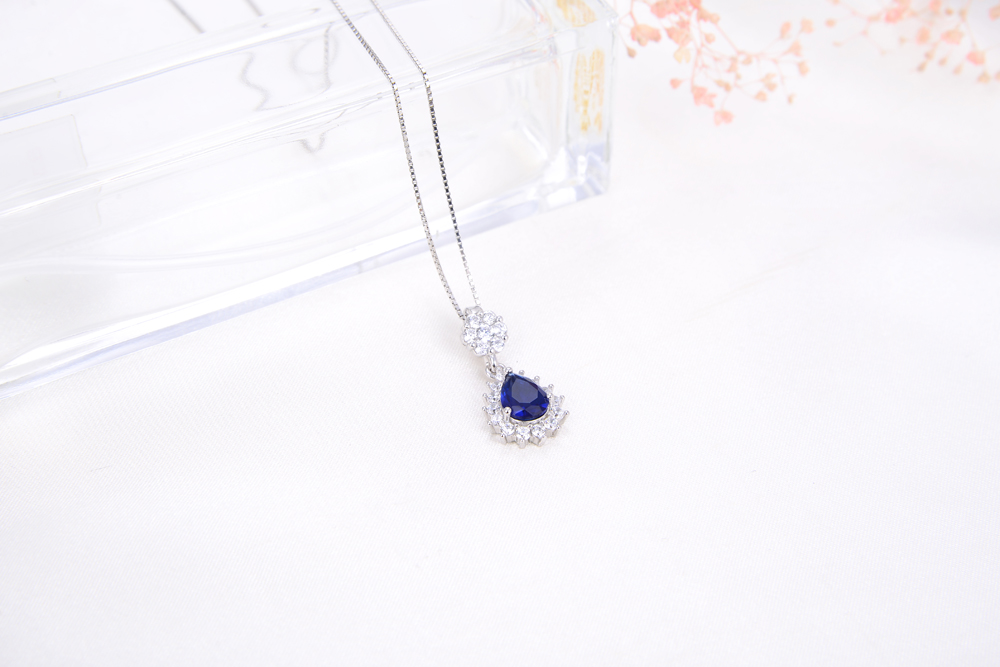 newest fashion blue sapphire tanzanite necklace silver 925 for women