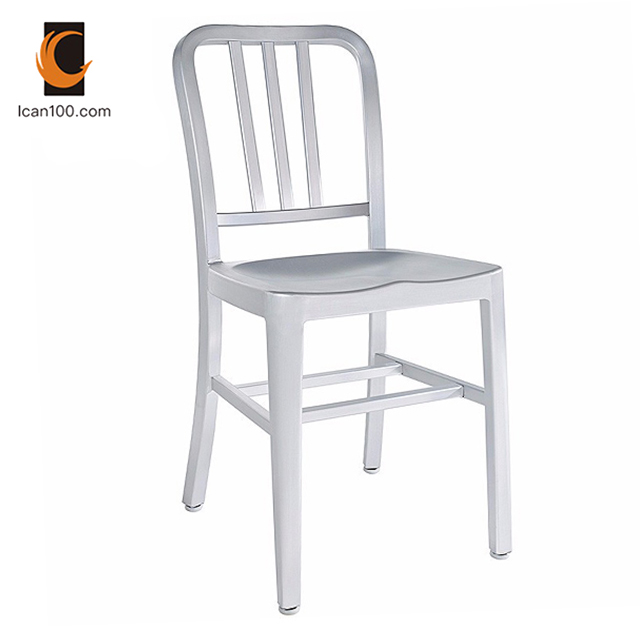 Anti Fading French Bistro Modern Restaurant Navy Metal Cafe Chair Chairs