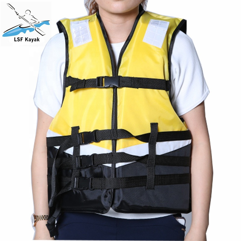 Professional Kayak Life Jacket with Whistle Belt Tighten Inflatable Vest for kayaking safely protect people from drowning