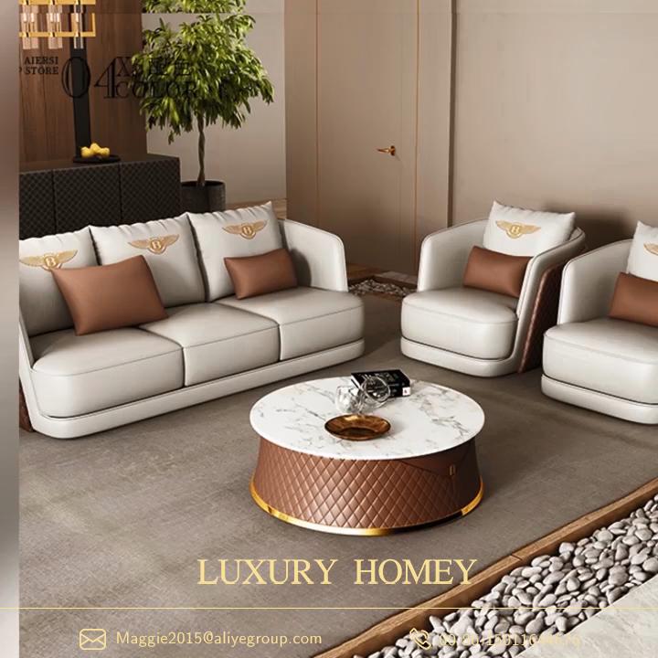 Nieuwe Hoge-Kwaliteit Luxe Lederen Italiaanse Bankstel Meubelen Woonkamer Sofa