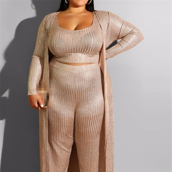 Women Plus Sized Clothing XXXL Top and Pants Coat Three Piece Sets
