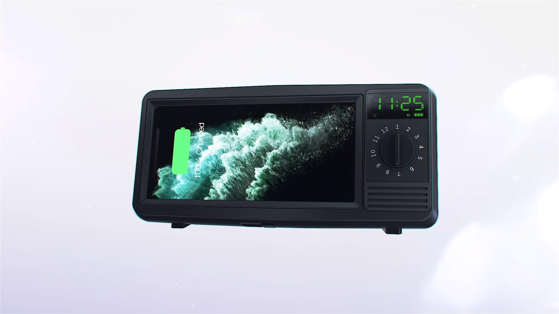 3 ב 1 רטרו TF כרטיס Bluetooth רמקול אלחוטי מטען עם פונקצית שעון מעורר