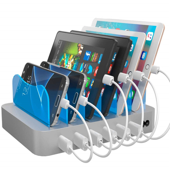 50W 6-Port USB Desktop Charging Station Hub Wall Charger for iPhone for iPad Tablets Smartphones