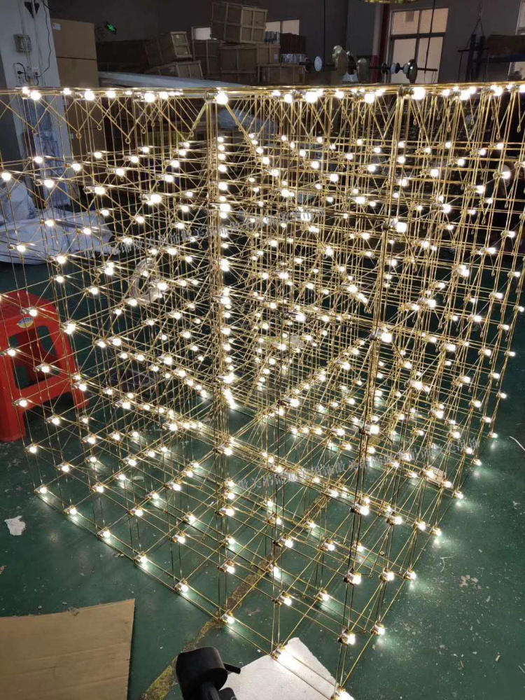Creative starry chandelier custom lamp sales department hotel lobby large decoration LED light cube