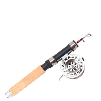 Light weight Mini Winter Ice Fishing Rod Wooden Handle with metal wheel combo reels set