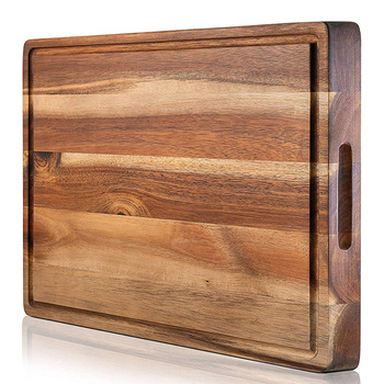 Wholesale Custom Food Grade Large Kitchen Thick Solid Acacia Wood Chopping Board Wooden Cutting Board