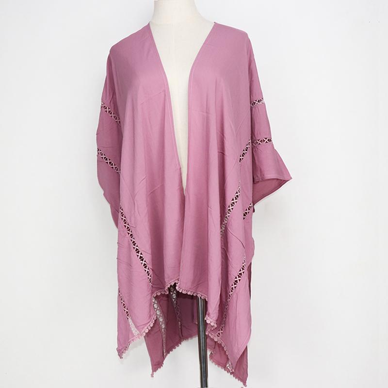 女性ビスコースレース編みブラウス高品質秋固体 ruana 女性の夏の無地着物