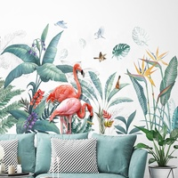 Colorful Flamingo Wall Stickers Home Decor Girls Bedroom Bathroom Decoration Vinyl Art Decal Wallpaper