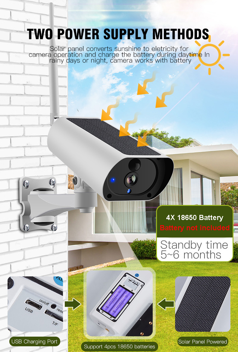 Wanscam K55A PIR low consumption 1080P outdoor solar wifi ip cctv camera