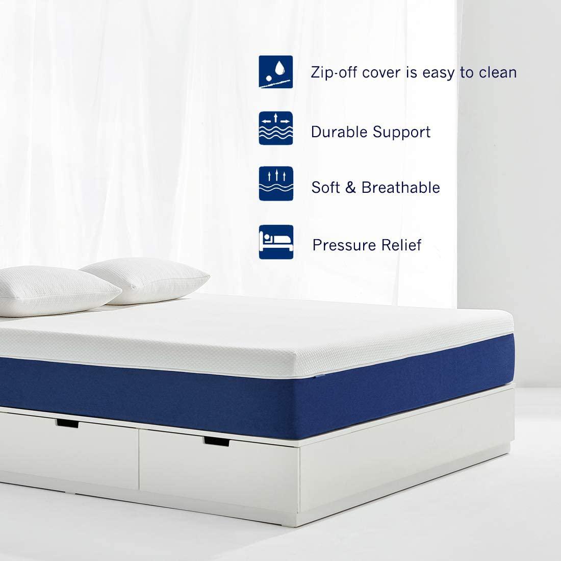 Desmontable cubierta de la cremallera de tela de bambú cama doble tamaño de espuma de memoria de gel colchón para dormir