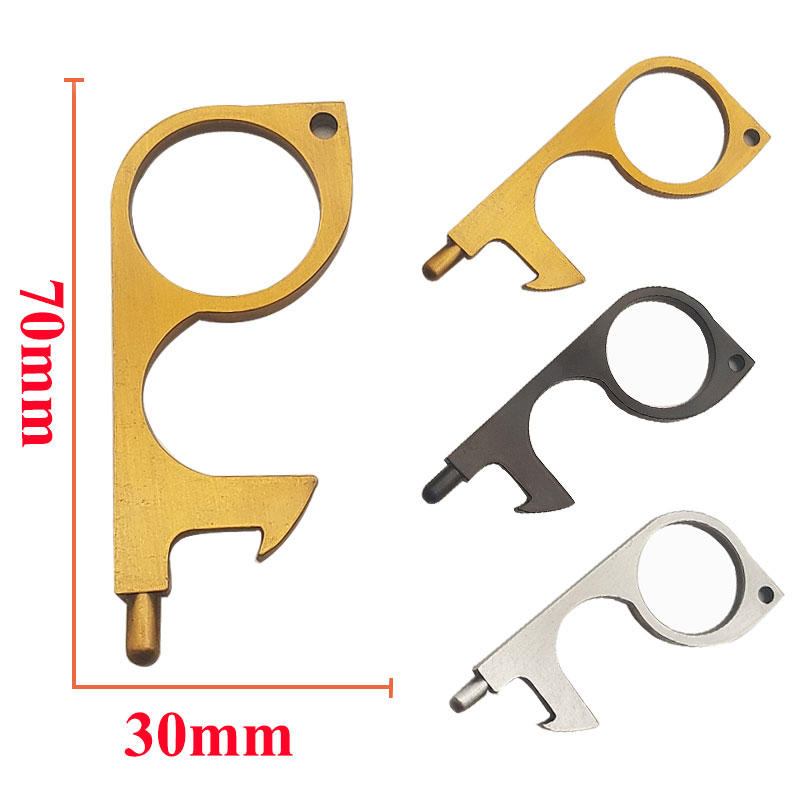 Portable Contactless Door Opener Personalized Keychain  Brass No Touch Hand Keep Your Hands Clean in Public