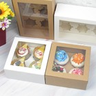Factory Wholesales Kraft Paper Simple Foldable Takeaway Food Cupcake Paper Packaging Gift Box