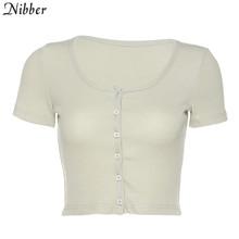 Женский вязаный укороченный топ Nibber, черный повседневный уличный топ с коротким рукавом, летняя мода 2020, офисные женские футболки в стиле Ха...(Китай)
