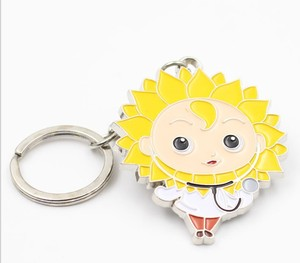 Customised 3d printed metal key chain Sunflower keychain for promotion