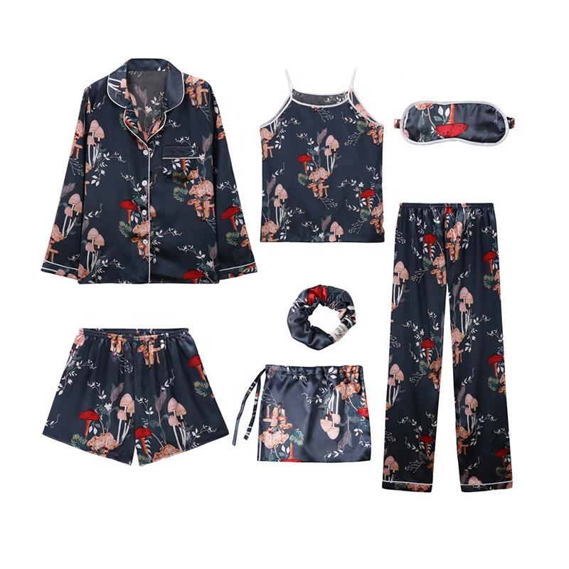 Vente en gros usine de vêtements de nuit 7 pièces Pj ensemble soie Satin deux pièces Pyjamas vêtements de détente hiver femmes Pyjamas