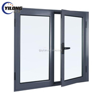 soundproof glass dark oak aluminium swing window