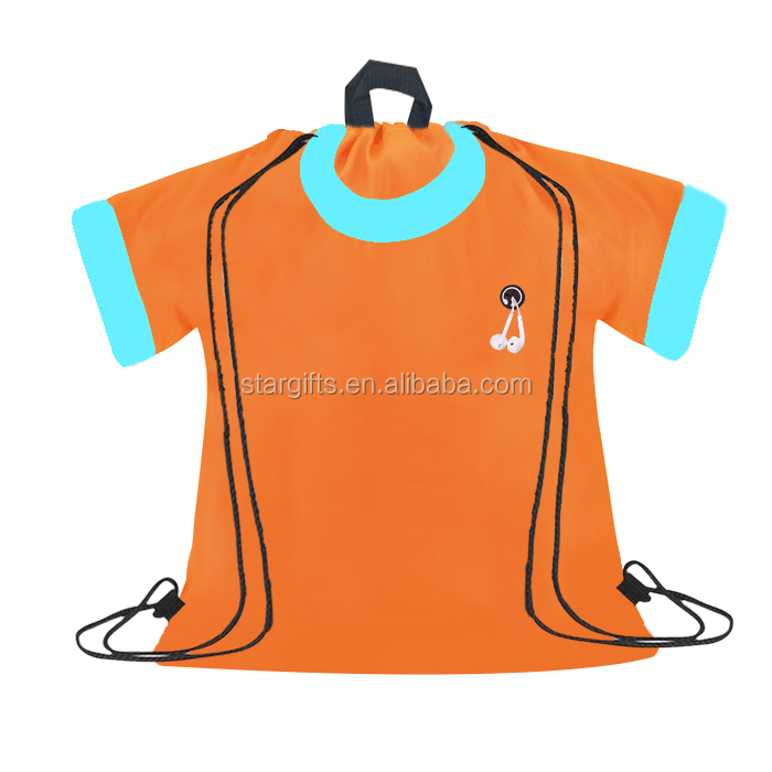 2020 Hot Sale Special Custom Design Polyester T-shirt Shape DIY Drawstring Bag Backpack with Earbuds Hole