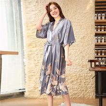 Женское атласное кимоно, черное летнее платье для невесты, подружки невесты, длинное сексуальное платье с цветочным принтом, одежда для сна,...(Китай)