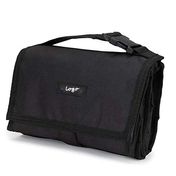 Bio ciré coton toile fourre-tout noir sac à lunch isolé jetable