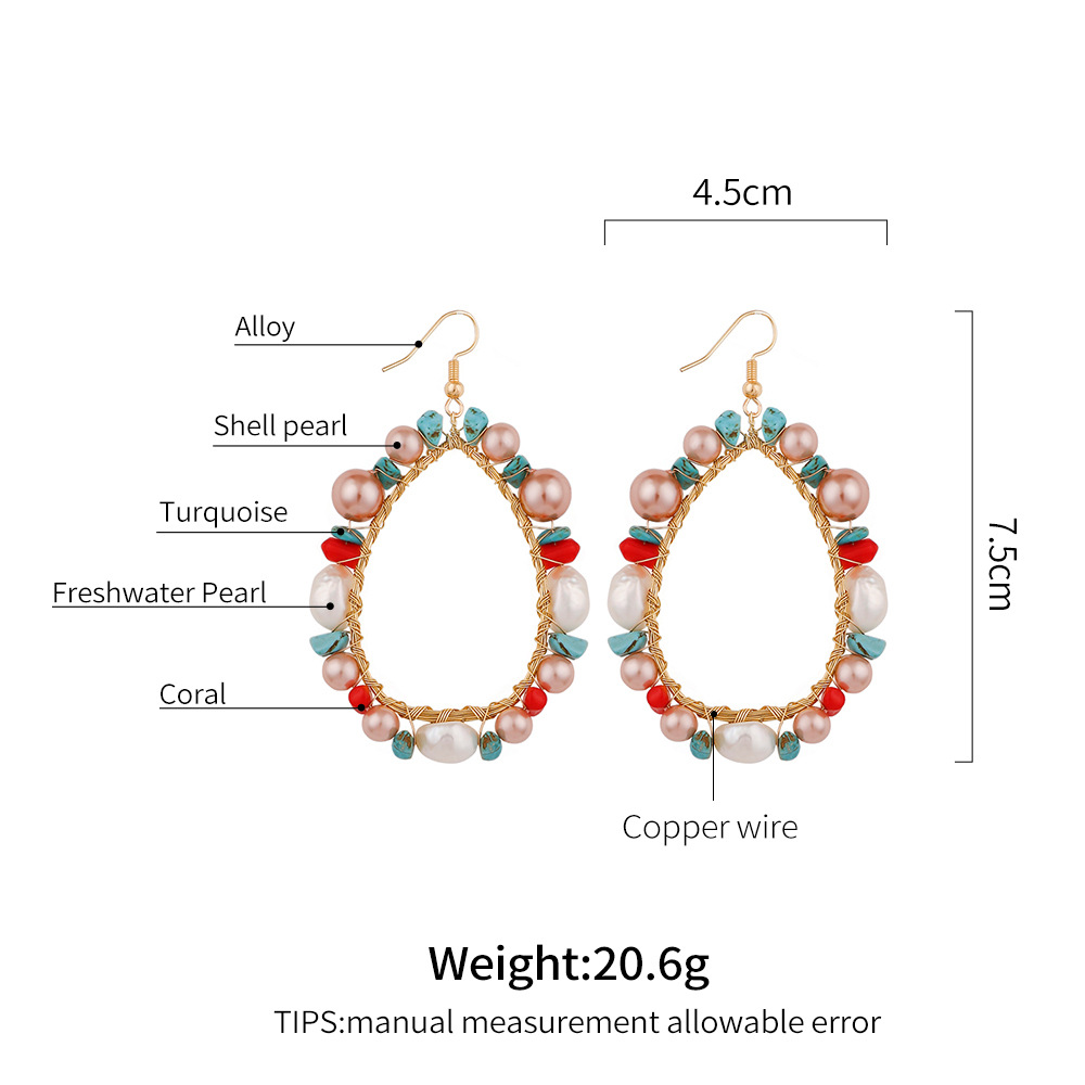 Fashion Charm Enamel Multi Color Flower Gold Plated Pearl Hoop Earrings for Party drop water shape Pearl Earrings