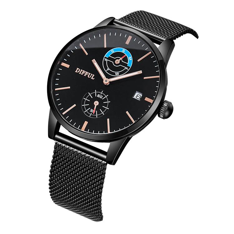 DIFFUL Brand  Fast shipping men wristwatch Mesh band Chronograph Black quartz watch