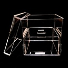 Romantic 2 Holes Plexiglass Crystal Clear Acrylic Visible Wedding Ring Box With Lid