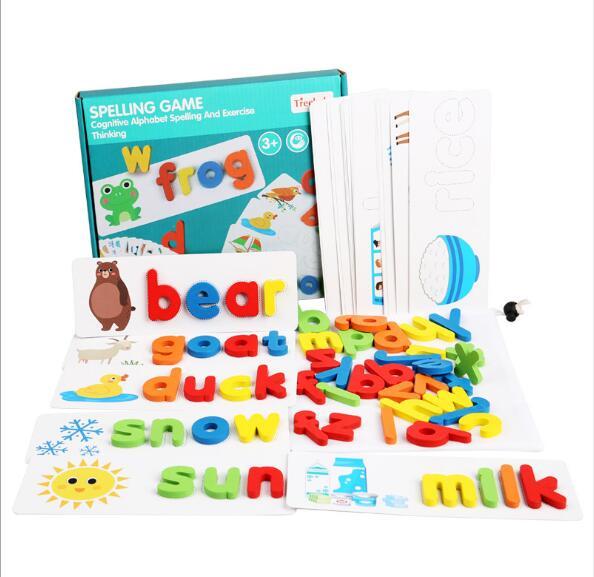 Деревянные навыки орфографии Обучающие игрушки Стволовые буквы Монтессори развивают лексику Алфавит флэш-карты игрушки