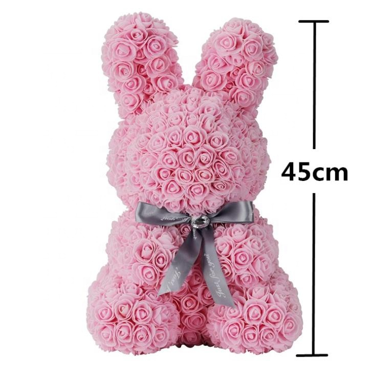 Hot Sale Artificial Flower <strong>Rabbit</strong> PE Foam Rose Bunny Valentine Gift Mother's Day Gift Wedding Favors Gift