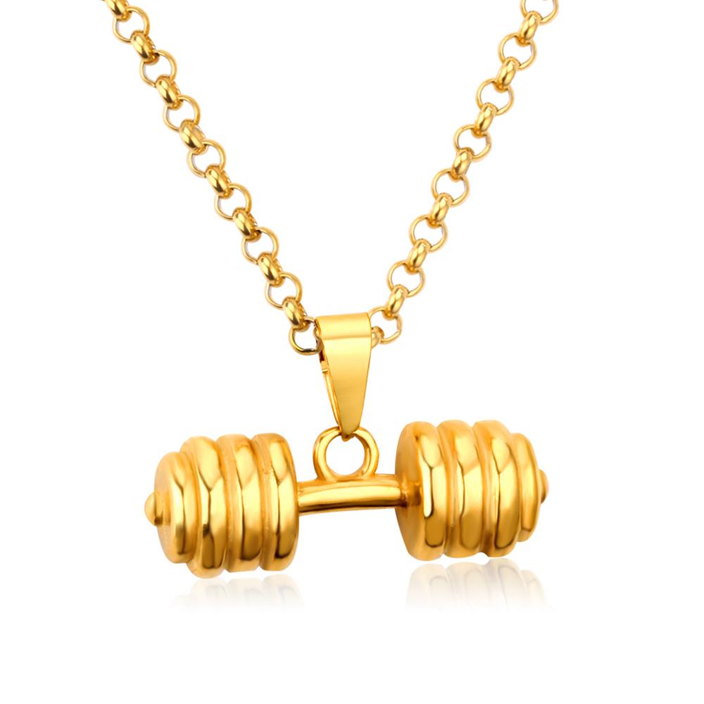 <strong>Fashion</strong> Jewelry Women Gym Fitness Wholesale Stainless Steel Men's Gold Dumbbells Pendant Necklaces