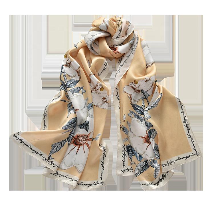 แฟชั่นอุปกรณ์เสริมส่วนบุคคล100% จริงผ้าไหมซาตินผ้าพันคอสำหรับสุภาพสตรี