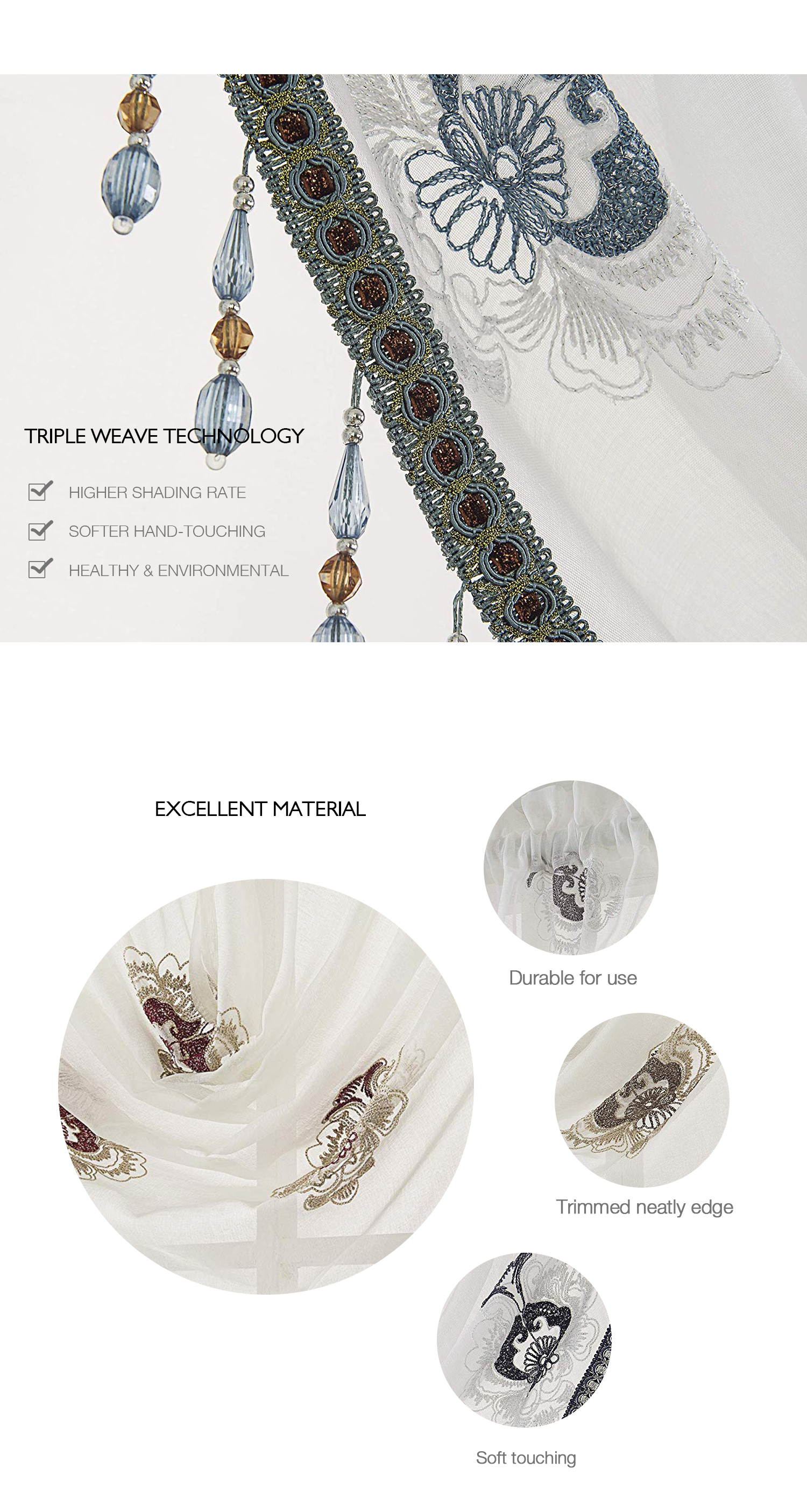 Hot selling embroidery semi sheer swag valance luxury beads trimed matched with panels