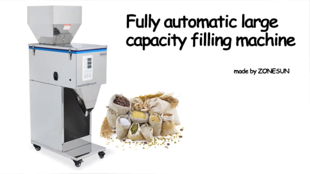 ZONESUN 10-999g Coffee Beans Dry Spice Weight Filling Machine Nuts Grain Or Powder Packing Machine Supply