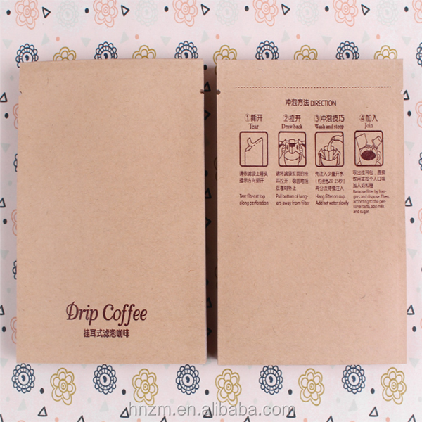 Custom logo color printing food grade drip filter hanging ear coffee kraft paper foil outer bag pouch bag