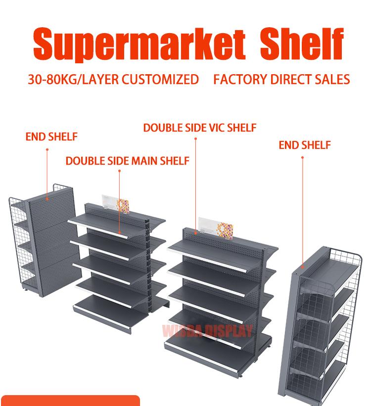 גבוהה באיכות סופרמרקט מדפי גונדולה תצוגת קיר מדפים עבור הקמעונאי חנות wisda תצוגה