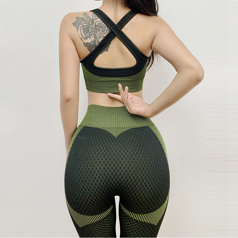 Cross-border explosion models seamless zipper suit female high elasticity slim fitness bra suit yoga sports two-piece suit