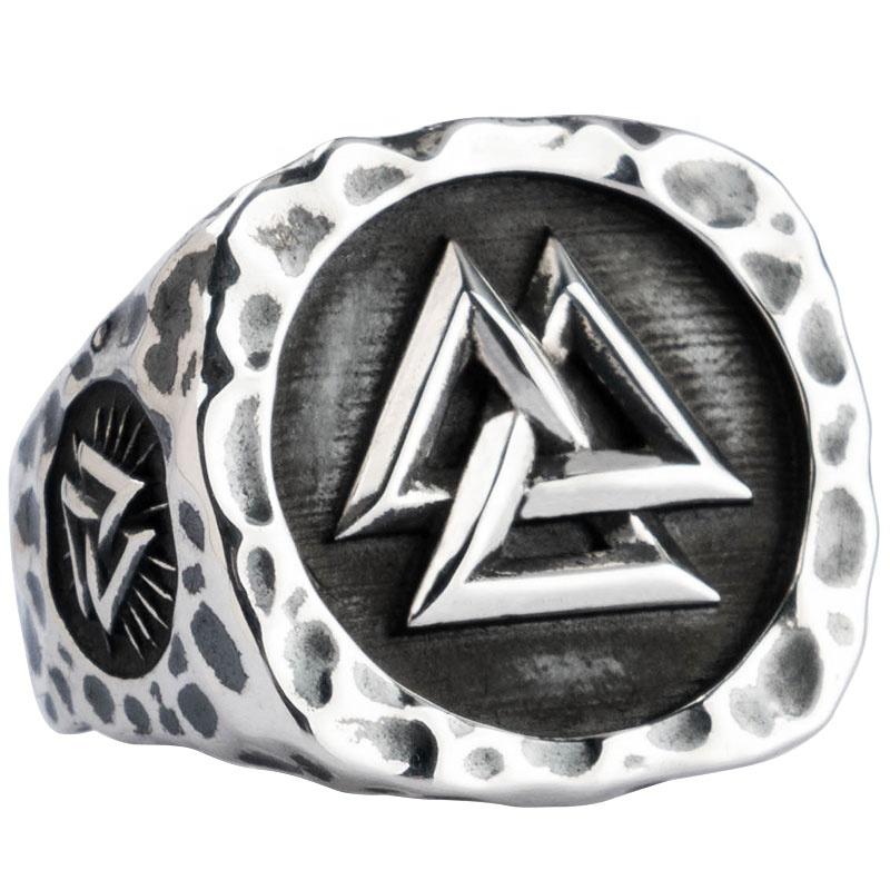 Viking Valknut Silber ringe für mann Vintage Punk Sterling Silber offenen ring mode schmuck hip pop straße kultur mygrillz