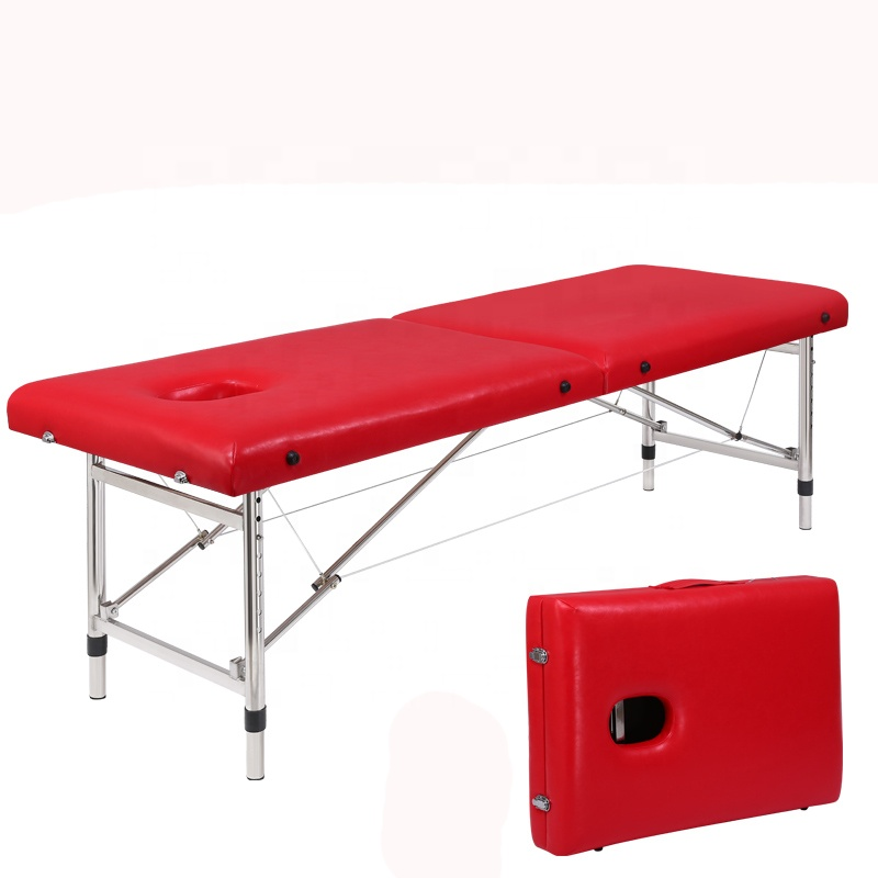 Cheap high quality height adjustable SPA beauty salon tattoo bed facial massage bed 2-section portable folding massage table